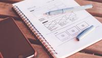 Cuaderno con el diseño y la estructura de una web
