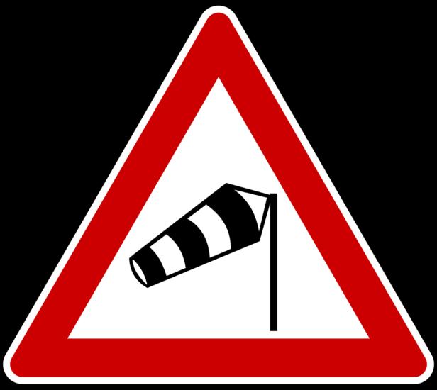 señal tráfico viento